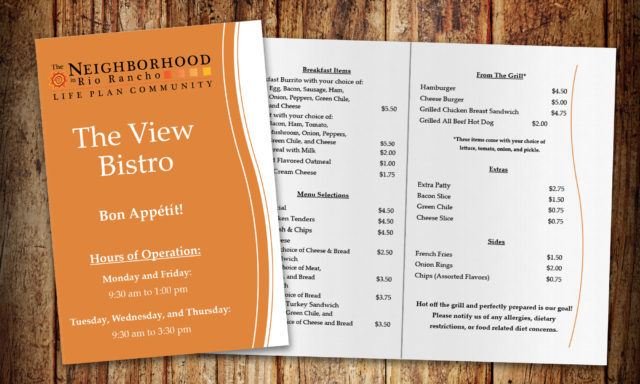 The View Bistro Menu