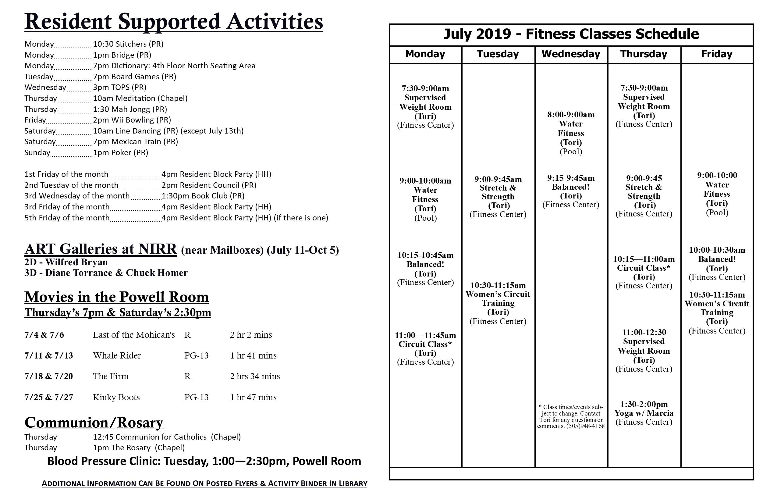July 2019 Calendar Detail Sheet